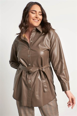 Big Size Faux Leather Shirt